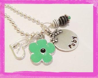 Gymnastic Necklace - Personalized - Hand Stamped Jewelry for Children - GYMNASTICS and DAISIES #S73 New
