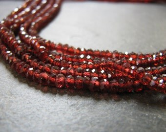 Red Garnet Rondelles, micro faceted beads. full 13 inch strand, 3.25mm-3.5mmmm (11m1)