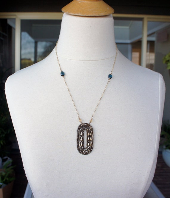 Antique Assemblage Necklace with Cut Steel Buckle, Gold Fill Chain and Topaz