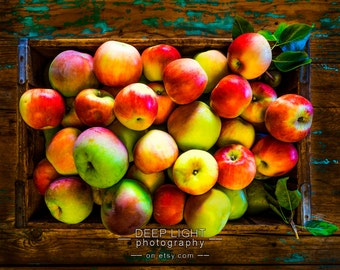 Photo of apples in a rustic crate, kitchen art, food photography, autumn decor, kitchen decor, red, wall art kit3
