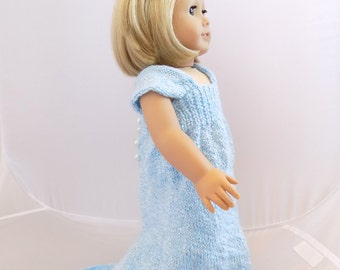 18 Inch Doll Ball Gown, Ball Gown Dress for Doll, Blue Doll Dress, Fits American Girl Doll