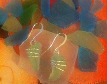 Pale Green Sea Glass Wire Wrap Dangle Earrings on Silver French Wires by LauriJon™ Studio City