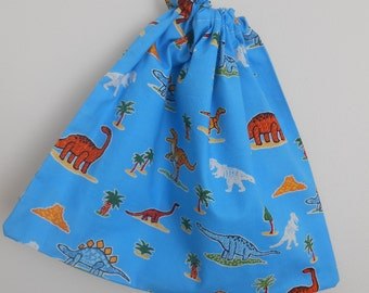 Small Blue Dinosaur Drawstring Snack Bag, Cotton Bag, Boys Bag, Toy Bag