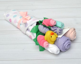 Unique Baby Girl Gift, Baby Gift Set, Baby Flower Bouquet, Pregnancy Gift, Office Baby Shower, Baby Shower Idea, Girl Baby Clothes
