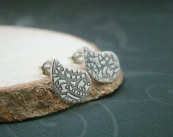 Tiny Paisley metal clay fine silver ear studs, for wife, wedding gifts, bridal, bridesmaid gifts, causal daily