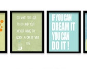 Words art prints set of 4 , inspiring motivational wall art room decor , famous quotes , archival reproduction , typography art