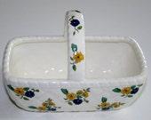 Vintage Elizabeth Arden Cosmetics Ceramic Gift Basket Yellow an Blue Bouquets Quilted Design Trinket Potpourri Candy Dish Japan