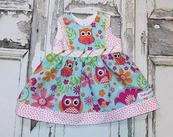 Hoot Owl Party Dress Sz 3 6 12 18 24 Months Custom Boutique Birthday Shower Gift Made in USA Owls Flower Aqua