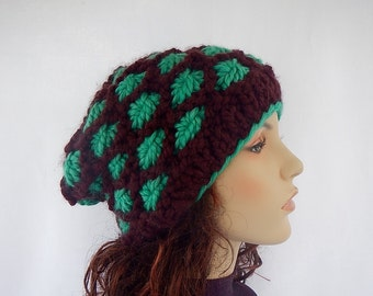 Knit chunky flower beanie/ hand knitted hat / gift for her