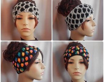 knit headband - two tone headband - knit ear warmer - flower headband - headband for summer - choose your color