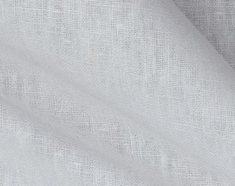 Pair of sheer top linen panels, rod pocket, White designer curtains, drapes, white sheer and white linen