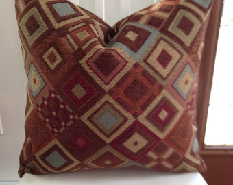 """Textured upholstery weight decorative pillow 20"""" square burgundy, beige brown blue"""