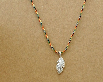 silver tiny leaf necklace, SILVER LEAF, charm necklace, cord necklace, rainbow,