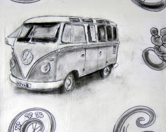 VW Split-Window Kombi Original Graphite/Ink/Acrylic Sketch on Canvas 50X50cms