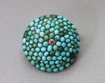 Large Georgian Pave Persian Turquoise and Diamond Dome Brooch 18k Gold