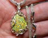 lab created opal cabochon pendant, 2-sided drop, solid stone, yellow base with orange and green fire, hand wrapped silver filigree setting
