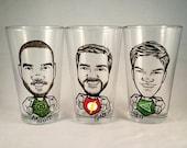Super Hero Vintage Style Original Caricature Beer Glass- Hand Painted Beer Glass - Cool Groomsmen Gift