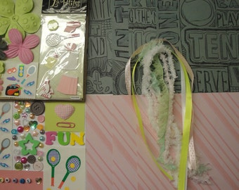 TENNIS Paper Bag Album Scrapbooking Kit 100+pc