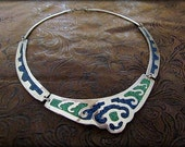 Vintage Alpaca Mexico Chip Mosaic Collar Bib Necklace