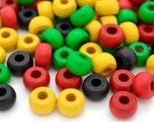 Wood Beads, Rasta Mix, 50 pcs, 10 x 6mm, 4mm Hole,  Crow  Beads, Hemp Beads -B545