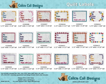 Quilt Label Embroidery Designs