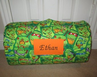 Monogrammed Childrens Pre School THICK COMFY Nap Mat Ninja Turtles w/ Attached Cuddle Double Sided Minky Blanket and Pillow