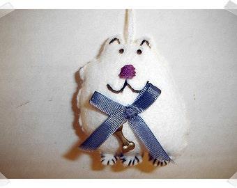 White Dog Ornament/ Made of Felt/Handmade/ MADE to Order**