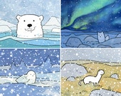 Arctic Animals Print Set, 4 nursery illustration prints, polar bear, fox, snowy owl, weasel
