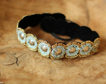 Black, Pale Turquoise and Gold Headband, Women Beaded Headband, Women Headband, Bohemian Headband, Indie, Women Accessories, Gift for Her
