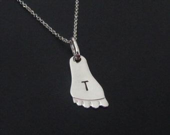 Sterling Silver Necklace, Personalized Jewelry, Initial Feet Necklace, Gift