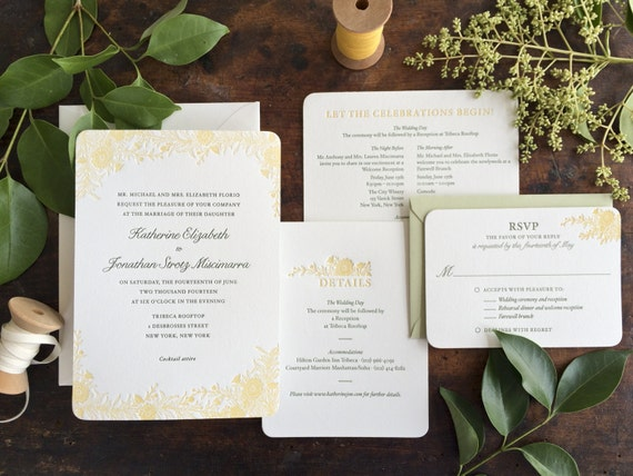 Wildflower Wedding Invitation, Rustic Wedding Invitation, Letterpress Wedding Invitation, Flower Wedding Invitation