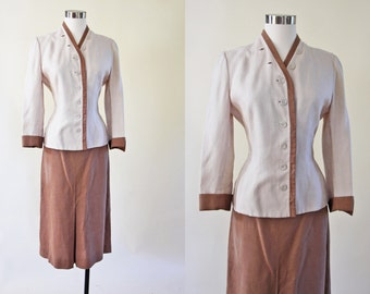 1940s Suit - Vintage 40s Irish Linen Designer Neutral Brown Cream Two-Tone Jacket Skirt Suit L - Sand and Oyster