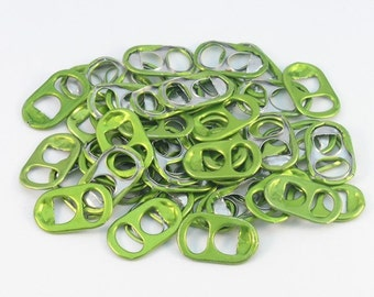 50 lime green tabs shipped from Europe, light green tabs, soda tabs, can tabs, ring pulls, pull tabs, soda can tabs