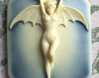 New Shape! Bat Woman, set of 2, Ivory on Blue, 40x28x17x6mm