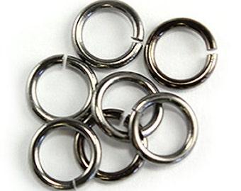 6mm Gunmetal Jump Rings, 100 pieces.