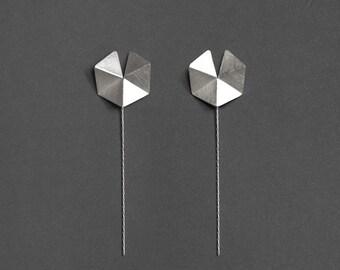 Front & Back Geometric Earrings, Silver Stud Earrings, Geometric Silver Earrings, Silver Minimalist Earrings, Geometric Drop Earrings