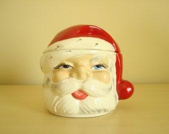 Vintage Santa cookie jar, Santa candy jar, 1950s chalkware Santa Claus, sexy Santa, stash jar, holiday decor, kitschy xmas