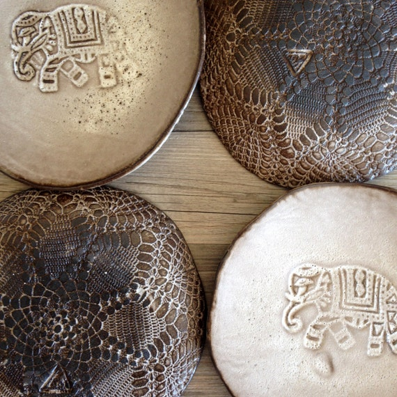 Ceramic plates for dessert Gray slate color, Handmade, set of 4,  Wedding gifts, Organic shaped Handmade Tableware elephant plates