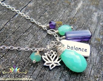 gemstone and balance charm necklace, yoga balance necklace, sterling silver charm necklace, lotus charm, amethyst, chrysophrase