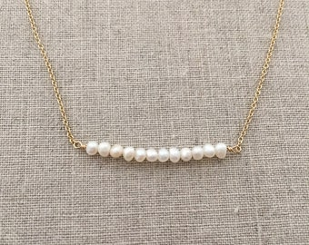 Gold Pearl Bar Necklace - Delicate Gold Pearl Necklace - Gold Filled - Bridesmaid Gifts - Gold and Pearl Necklace - Gold Layering Necklace