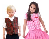 Boys, Girls, and Baby Vest Pattern - Festive Vests, easy PDF Sewing Pattern by Scientific Seamstress