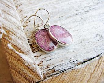 Pale Pink Earrings, Micro bead Earrings, Resin Earrings, Minimalist Earrings, Simple Dangle Earrings, Small Pink Earrings