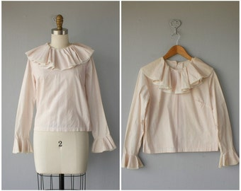 60s Blouse | Vintage 1960s Blouse | 60s Cotton Blouse | 60s Ruffleneck Blouse | Cropped Blouse | Long Sleeved Blouse