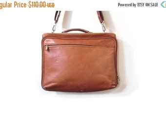 BTS SALE Vintage 80s Cognac Brown Distressed Leather Crossbody Laptop Satchel Book Bag Briefcase