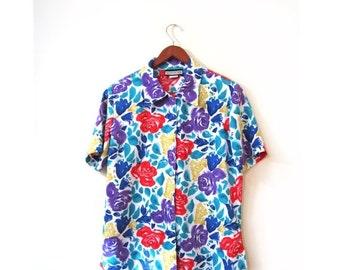BTS SALE Vintage 80s Colorful Floral Button Up Blouse s m