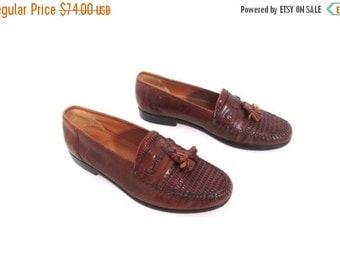 BTS SALE Vintage 80s Chestnut Brown Woven Leather Preppy Chic Tassel Loafers men 8.5 women 10