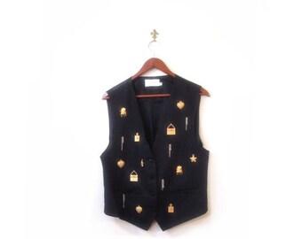 BTS SALE Vintage 80s Preppy Blue CHARMED Button Up Fashionista Vest s m