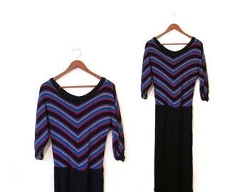 BTS SALE Vintage 70s CHEVRON Striped V Neck Knit Dress s m retro boho preppy