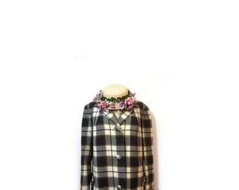 BTS SALE Vintage 50s Preppy Plaid Wool Duster Swing Trench Coat Evening Coat women M retro geek hipster indie vestiesteam minimalist mid cen