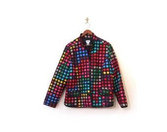 BTS SALE Vintage 90s Colorful Polka Dot Graphic Art Jacket s m l
